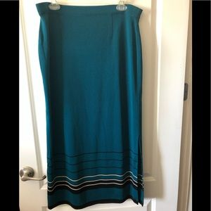 Exclusively Misook teal knit maxi skirt XL